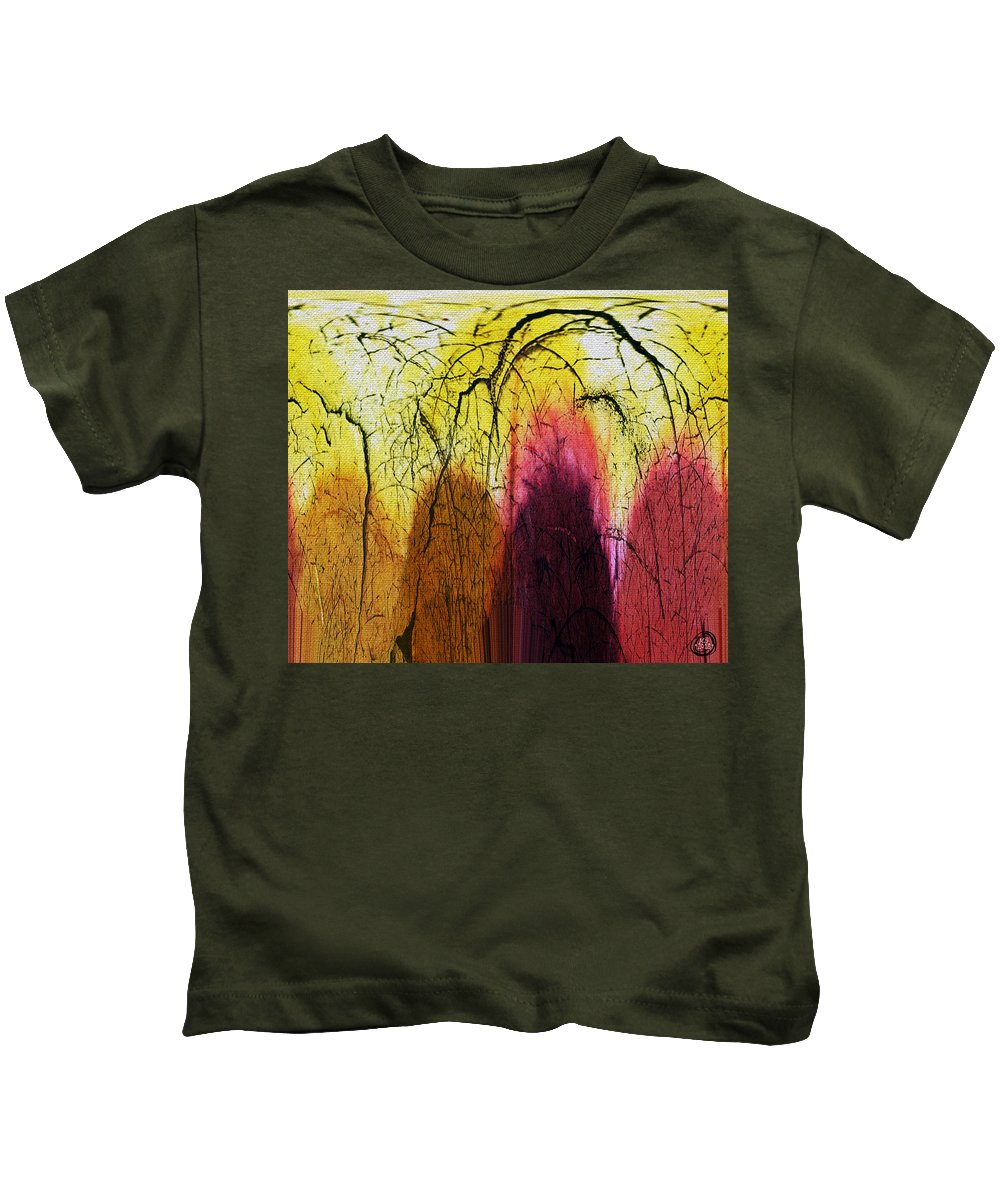 Abstract Kids T-Shirt featuring the digital art Shadows In The Grove by Absinthe Art By Michelle LeAnn Scott