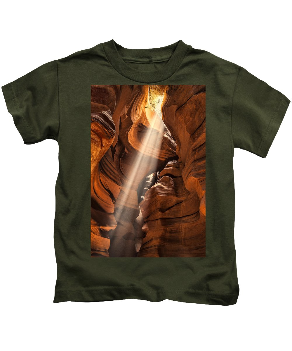 Antelope Canyon Kids T-Shirt featuring the photograph Shaft Of Light by Diana Powell