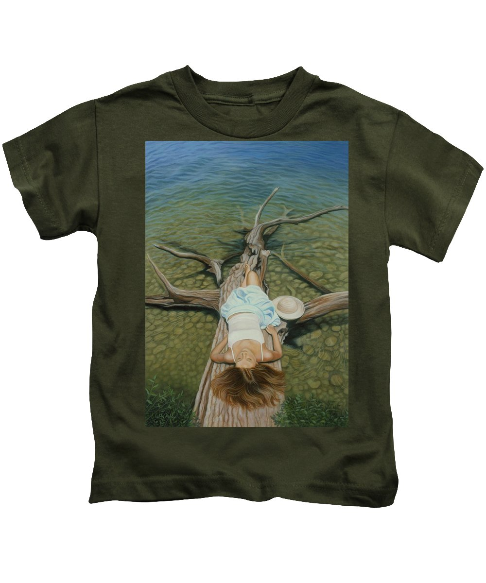 Realistic Kids T-Shirt featuring the painting She Slept Like A Log by Holly Kallie