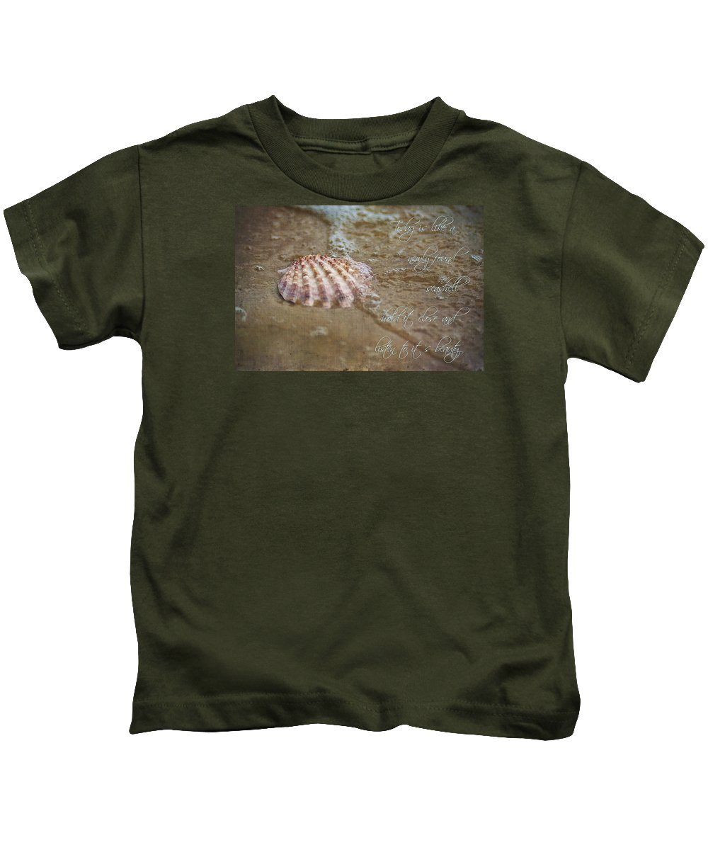 Starfish Kids T-Shirt featuring the photograph Shell On Beach by Regina Williams