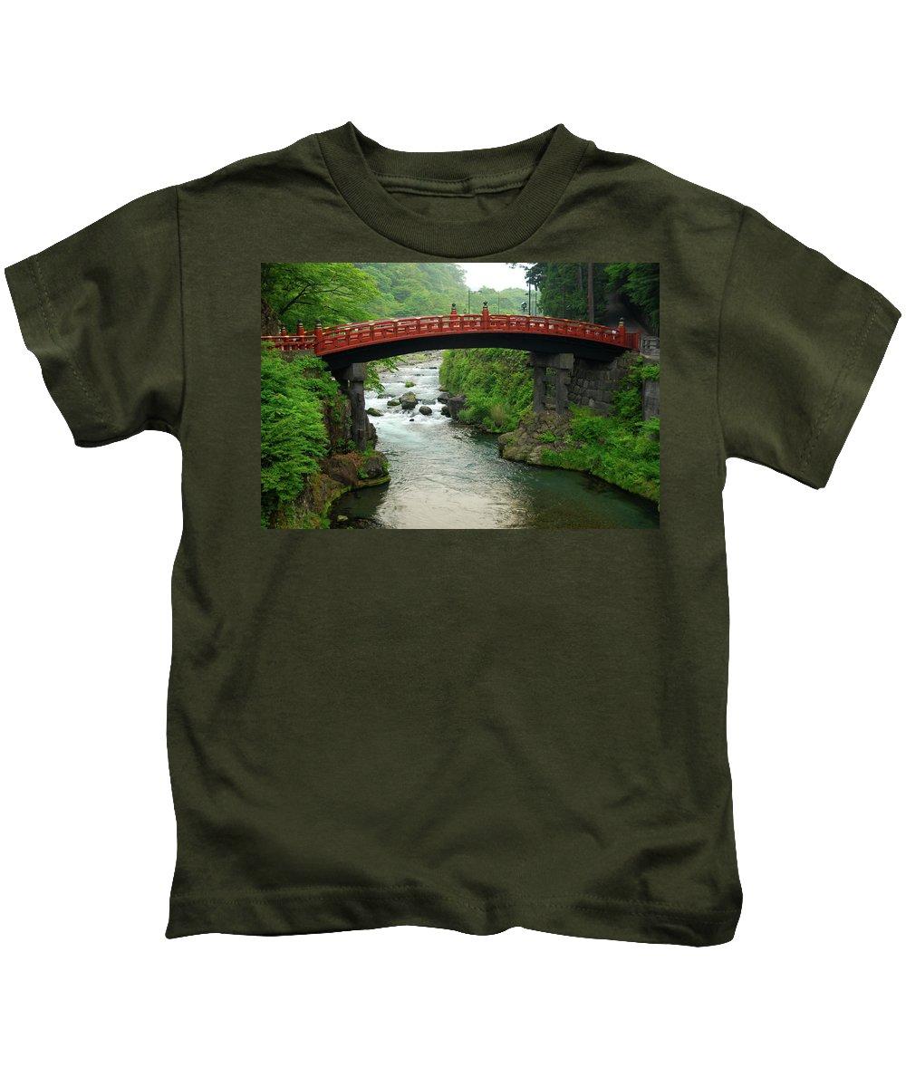 Shinkyo Nikko Kids T-Shirt featuring the photograph Shinkyo In Nikko by Jonah Anderson