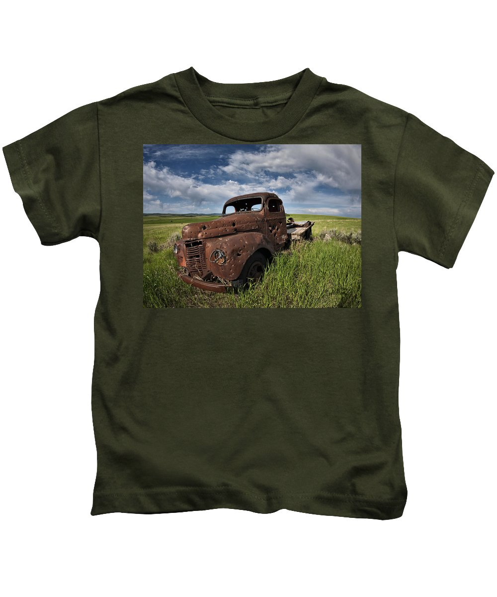 Old Truck Kids T-Shirt featuring the photograph Shot Up by Leland D Howard