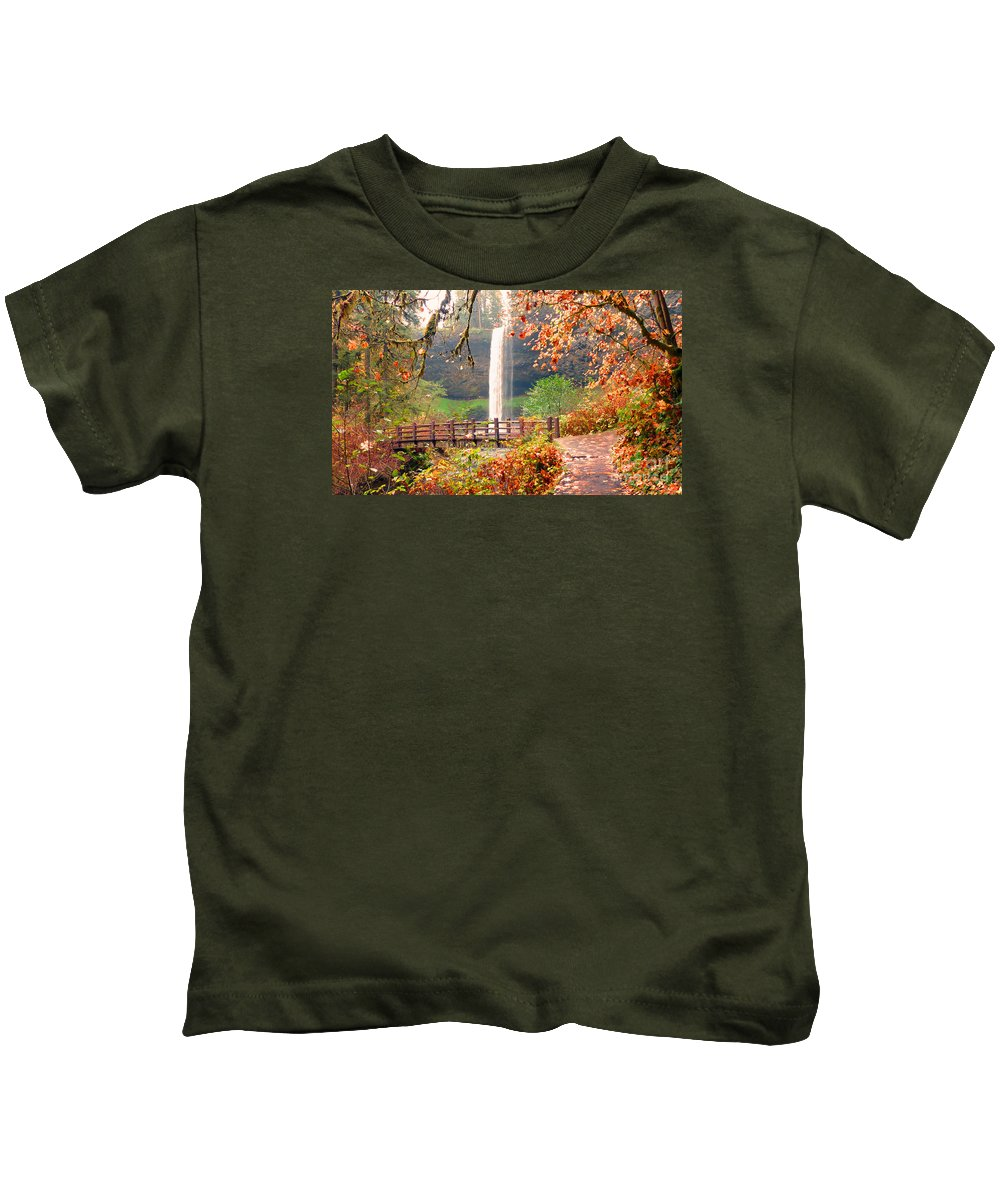 Waterfalls Kids T-Shirt featuring the photograph Silver Falls State Park by Tina Marie