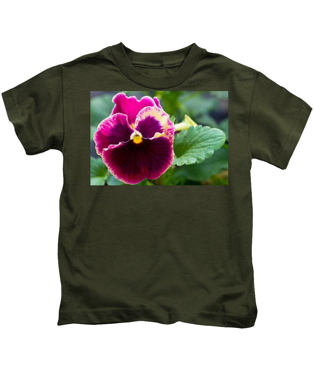 Agriculture Kids T-Shirt featuring the photograph Single Pansy by John Trax