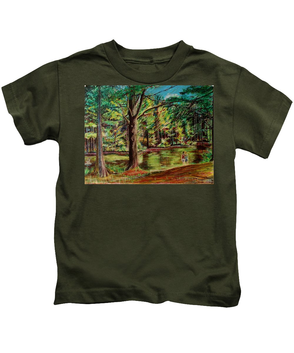 New Hampshire Kids T-Shirt featuring the pastel Sisters At Wason Pond by Sean Connolly