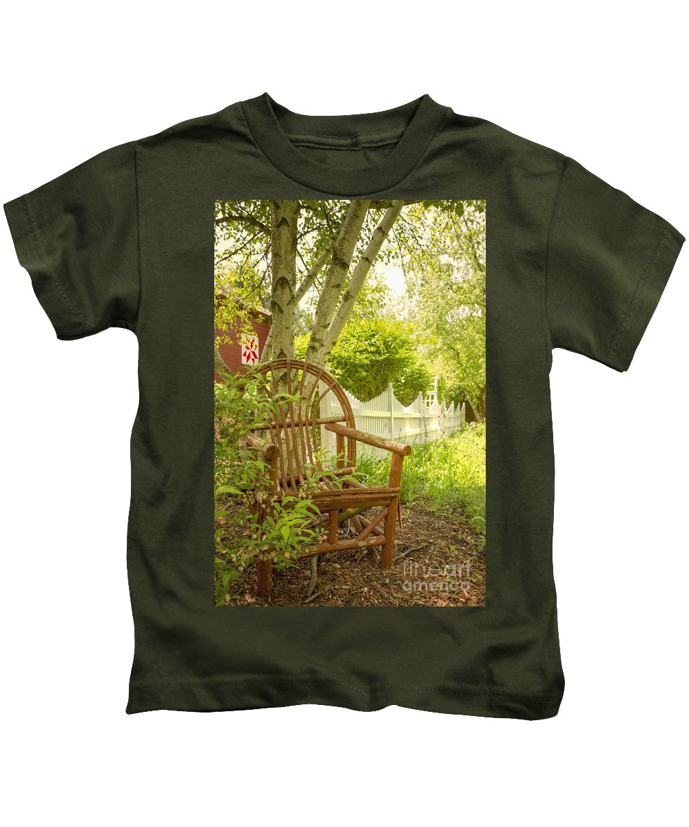 Chair Kids T-Shirt featuring the photograph Sit For A While by Margie Hurwich