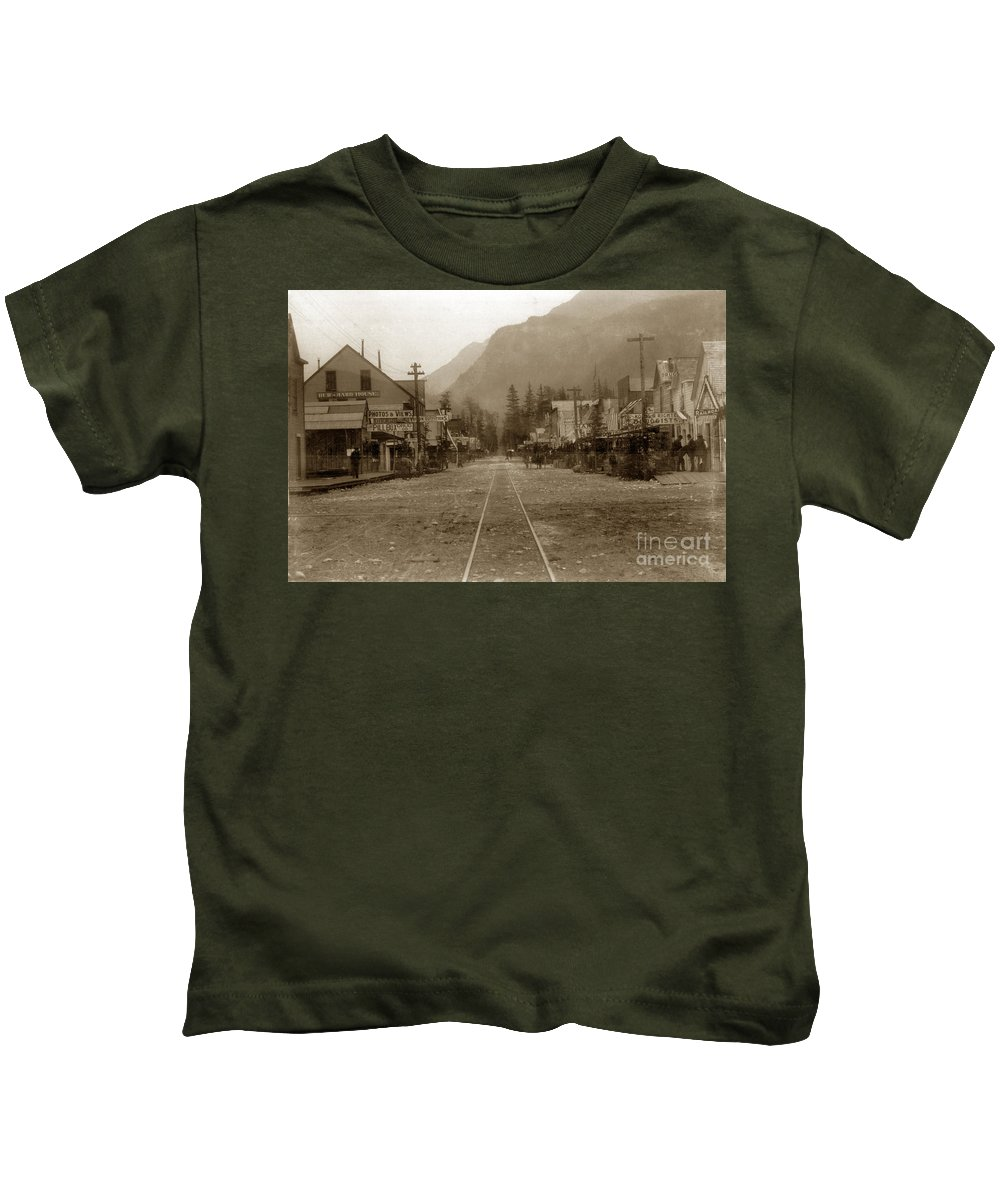 H. C. Bailey Kids T-Shirt featuring the photograph Skagway Alaska H. C. Bailey Photographer June 15 1898 by California Views Archives Mr Pat Hathaway Archives