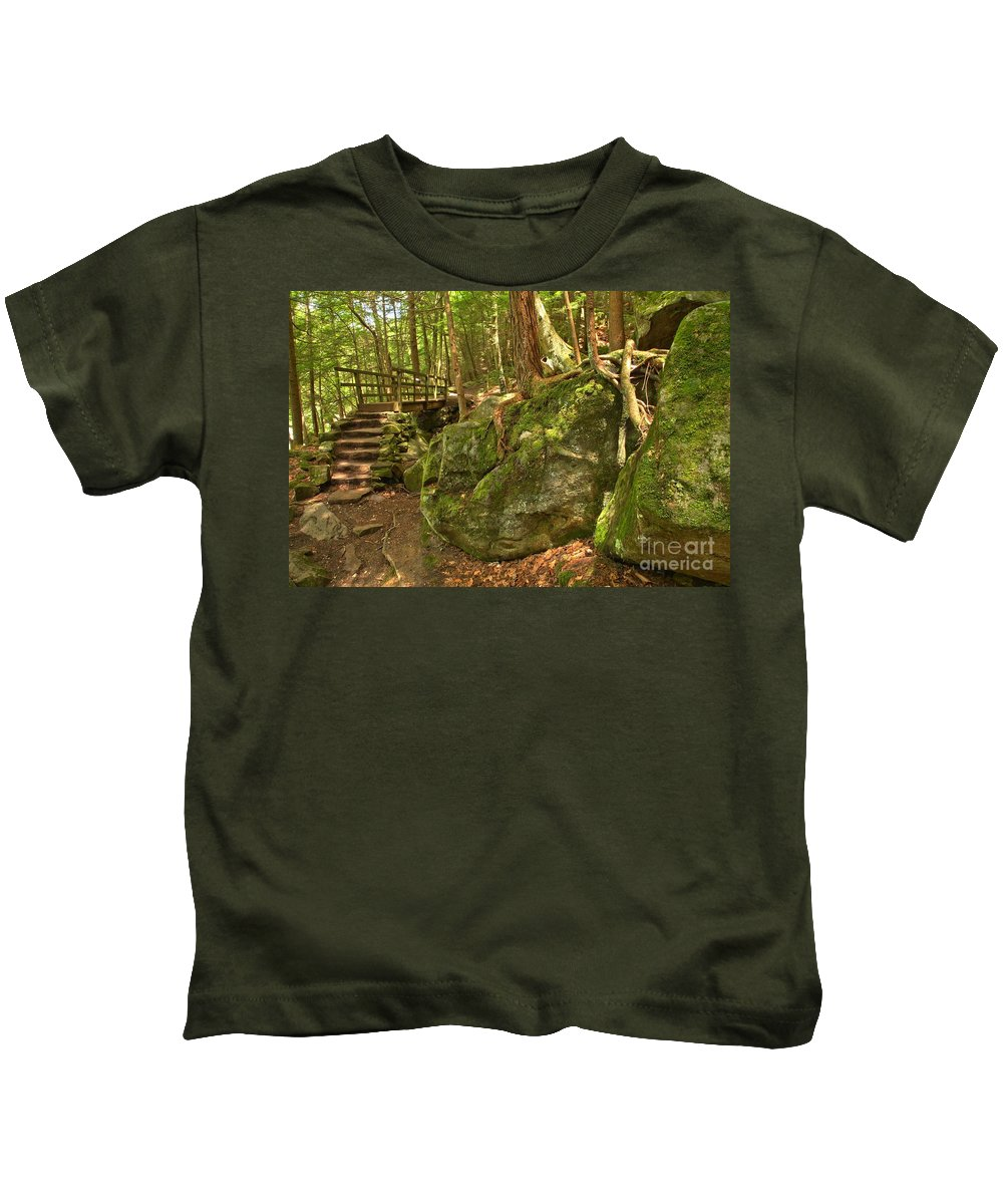 Kildoo Trail Kids T-Shirt featuring the photograph Slippery Rock Creek Bridge by Adam Jewell