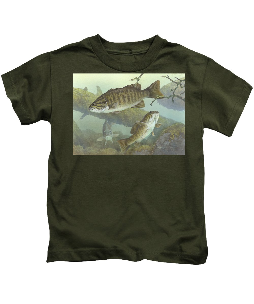 Smallmouth Bass Kids T-Shirt featuring the painting Smallmouth Bass by Mountain Dreams