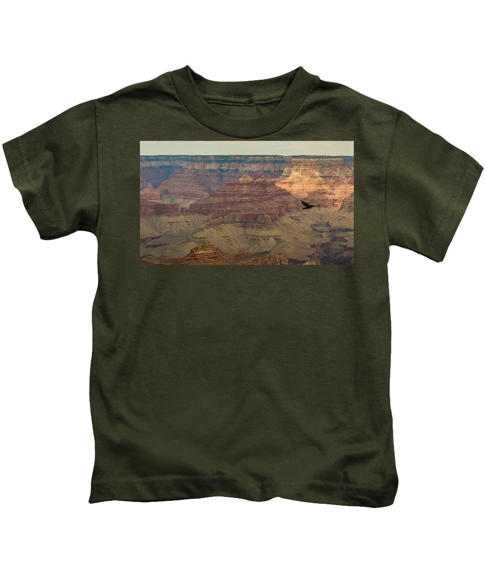 Sunrise Kids T-Shirt featuring the photograph Soaring Through The Canyons by Kathleen Odenthal