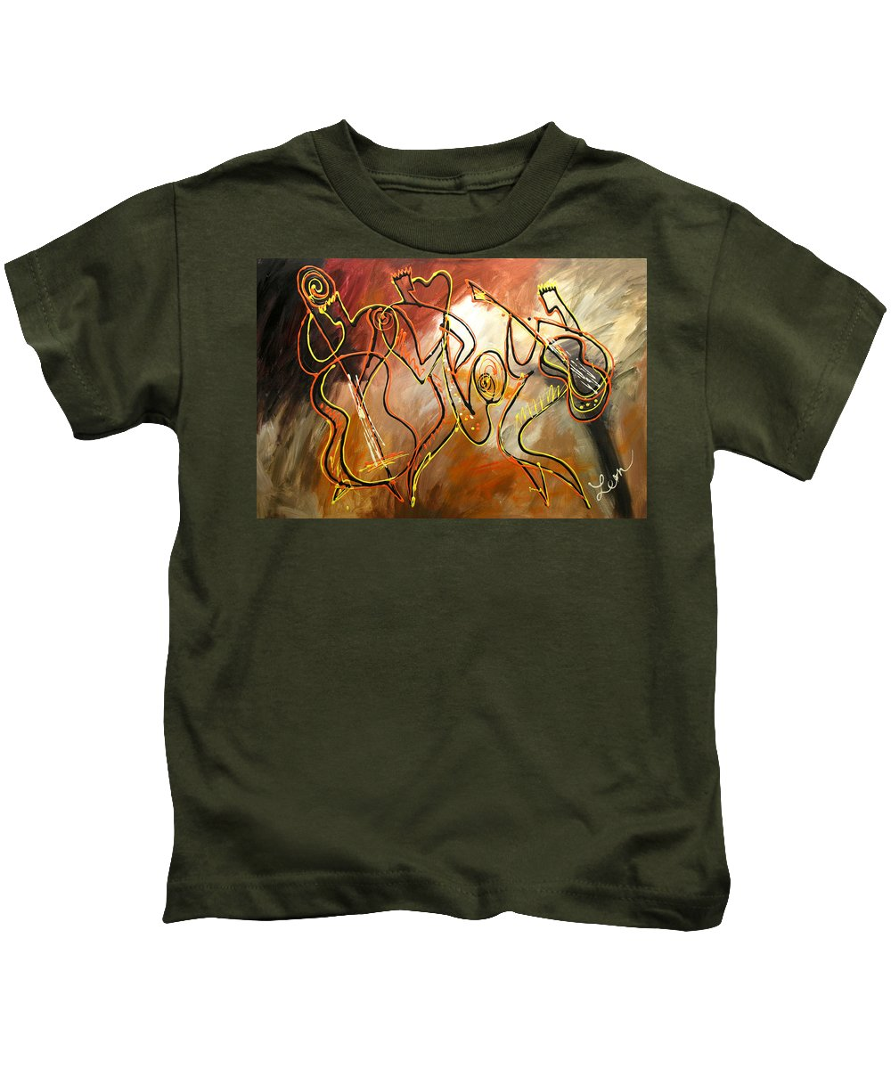 West Coast Jazz Paintings Paintings Kids T-Shirt featuring the painting Soul Jazz 2 by Leon Zernitsky