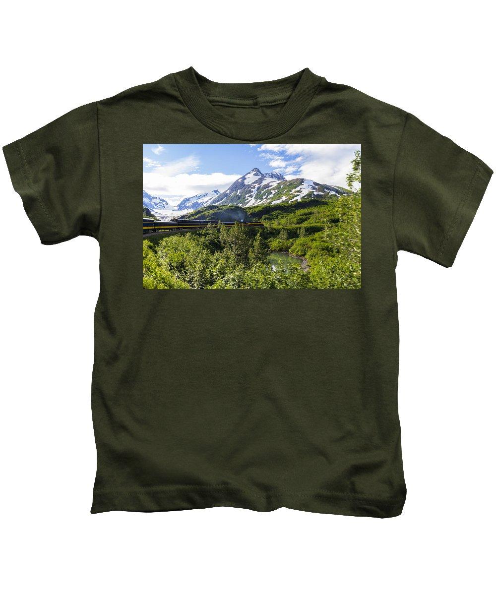 Alaska Photographs Kids T-Shirt featuring the photograph Southbound Alaska Railroad by Kyle Lavey