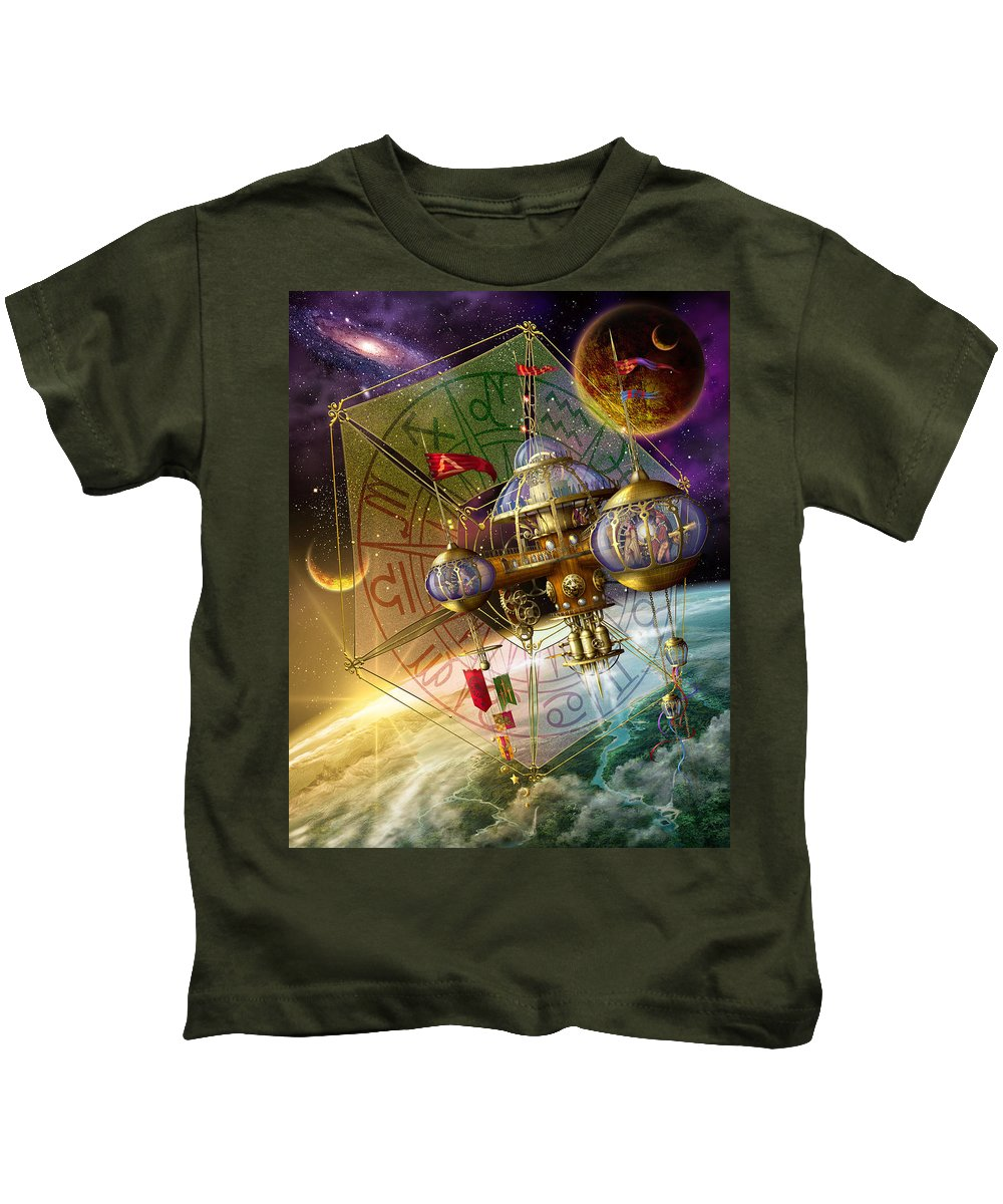 Dreamy Kids T-Shirt featuring the digital art Space Station by Ciro Marchetti