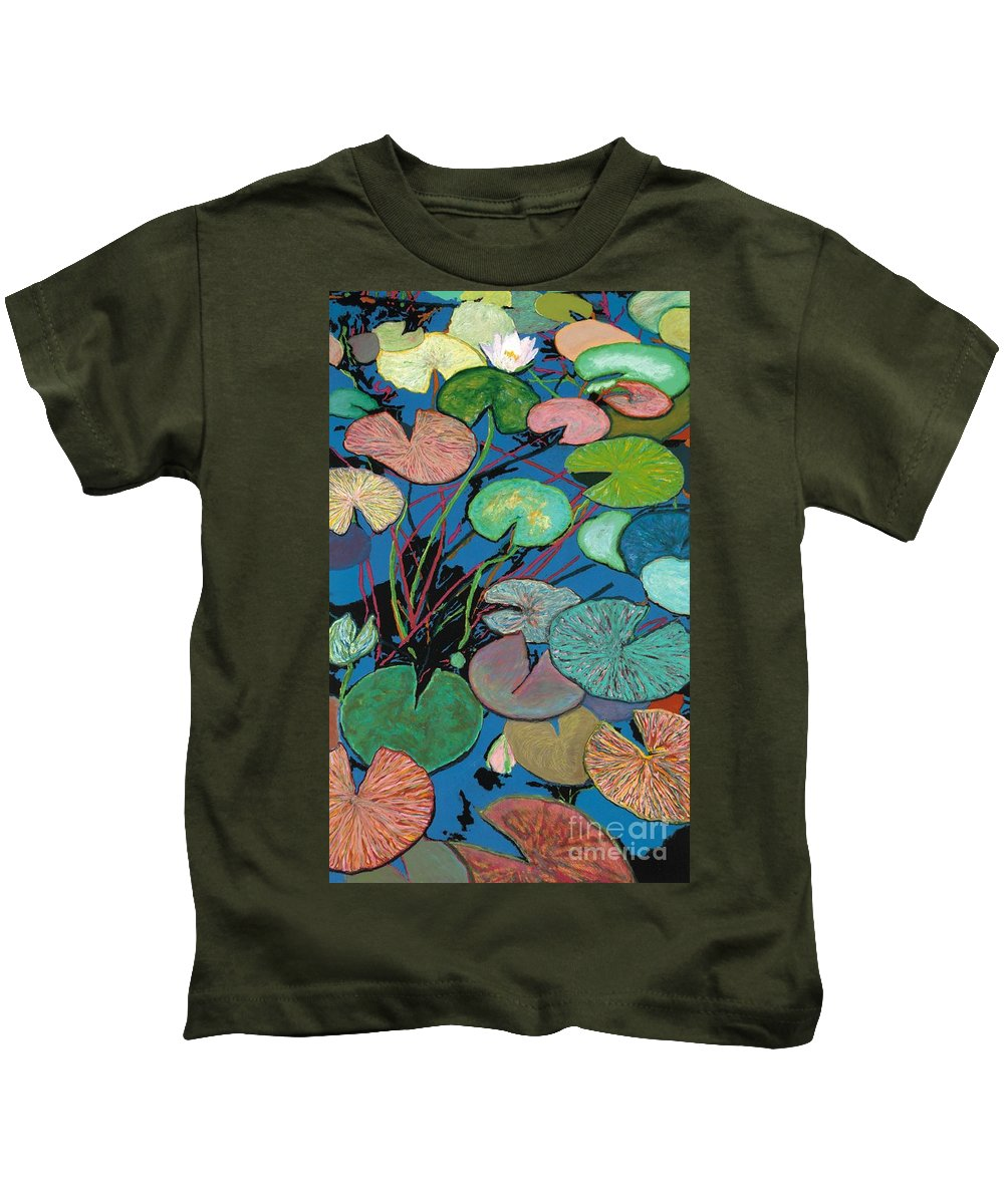 Landscape Kids T-Shirt featuring the painting Sparkling Pond by Allan P Friedlander