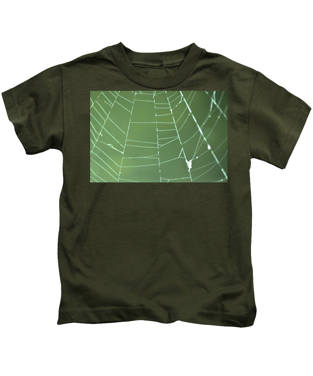 Abstract Kids T-Shirt featuring the photograph Spiderweb 3 by Brent Dolliver