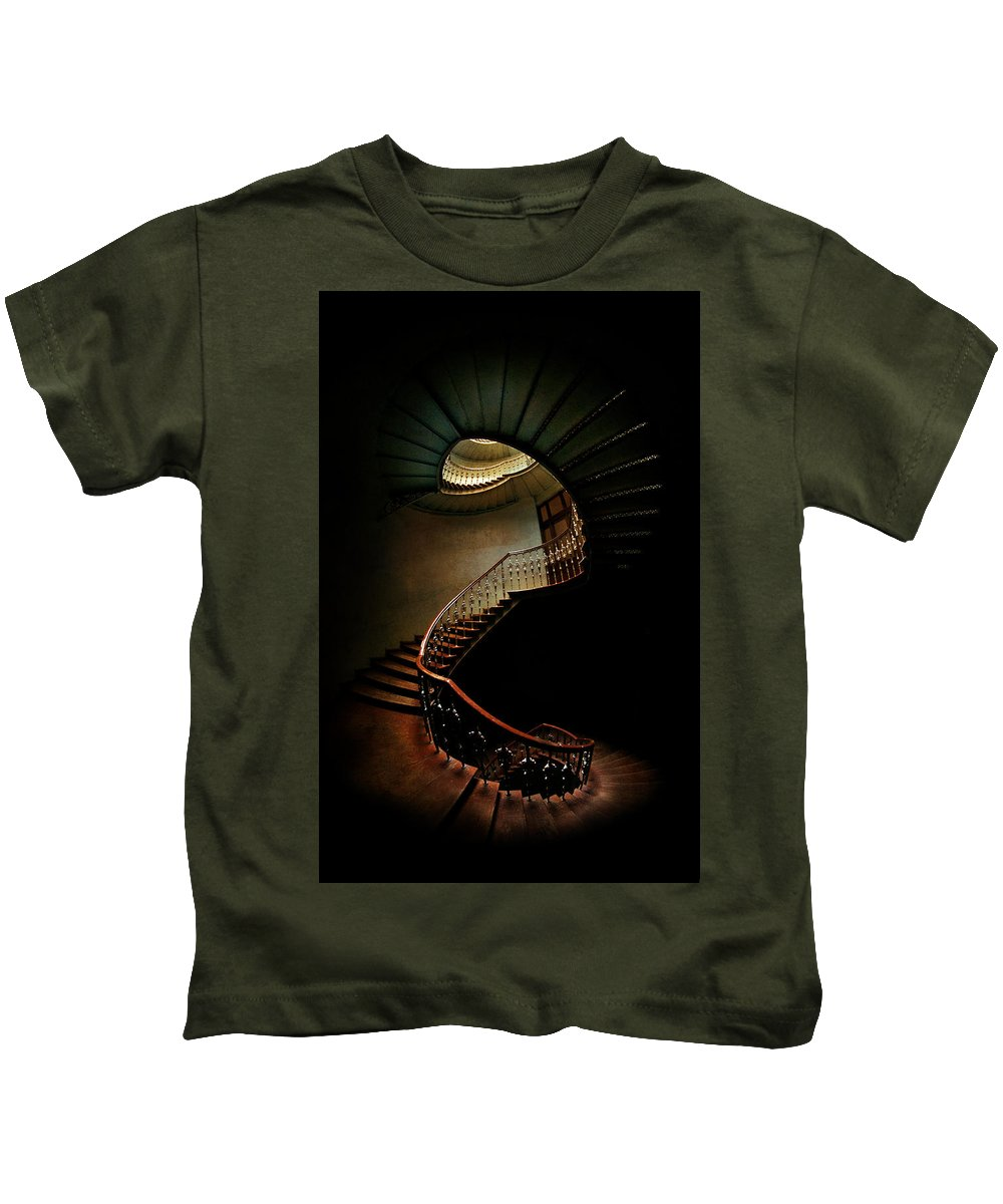 Architecture Spiral Kids T-Shirt featuring the photograph Spiral Staircase In Green And Red by Jaroslaw Blaminsky
