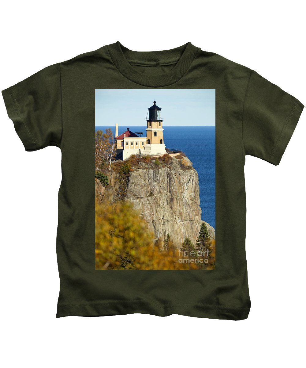 Split Rock Lighthouse Kids T-Shirt featuring the photograph Split Rock Lighthouse by Anthony Totah