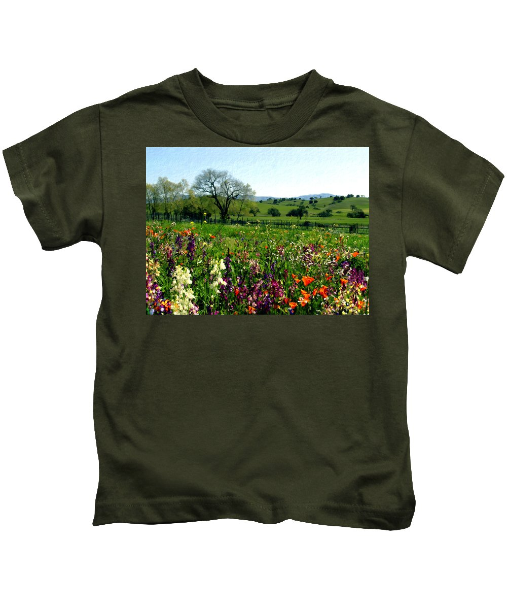 Flowers Kids T-Shirt featuring the photograph Spring Bouquet At Rusack Vineyards by Kurt Van Wagner