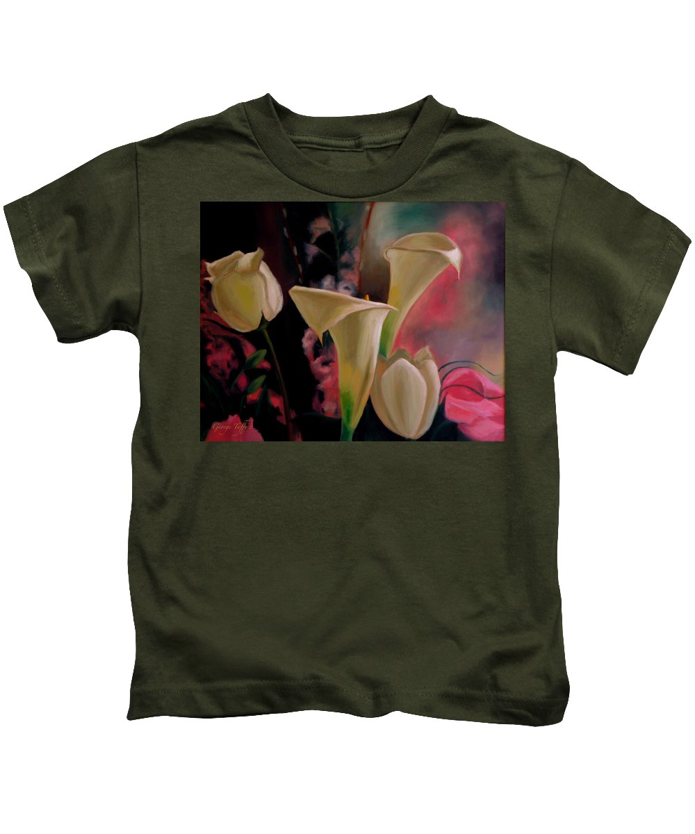 Flowerpaintings Oilpaintings Lilies Tulips Roses Spring Oilpaintings Bouquet Kids T-Shirt featuring the painting Spring Bouquet II by George Tuffy