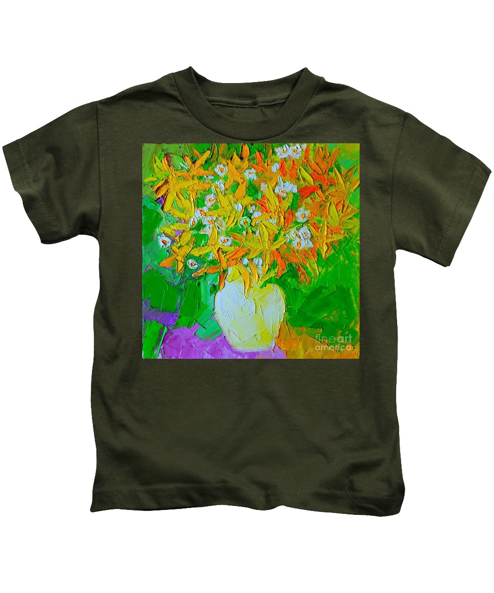 Forsythia Kids T-Shirt featuring the painting Spring Flowers by Ana Maria Edulescu