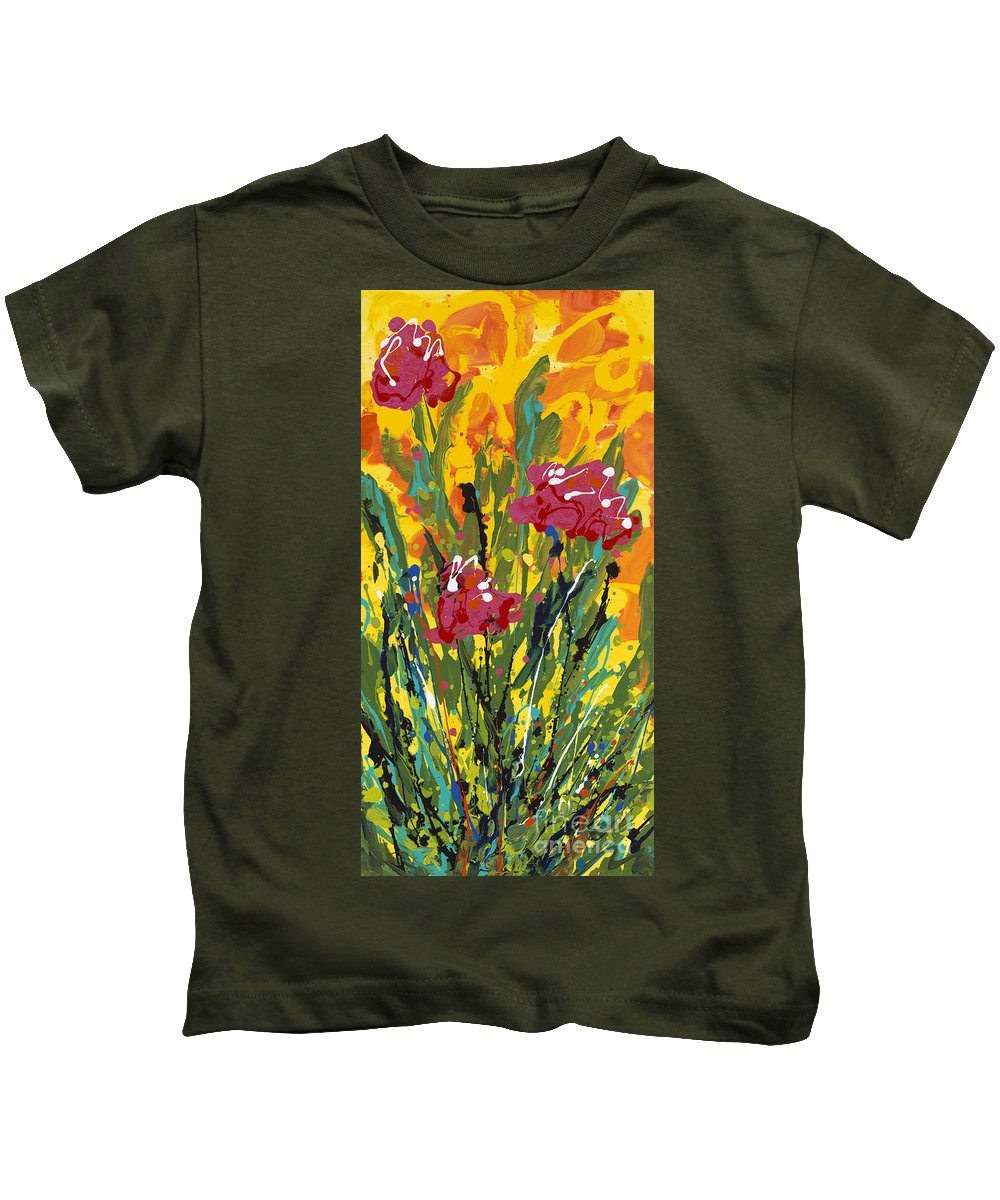 Spring Kids T-Shirt featuring the painting Spring Tulips Triptych Panel 3 by Nadine Rippelmeyer