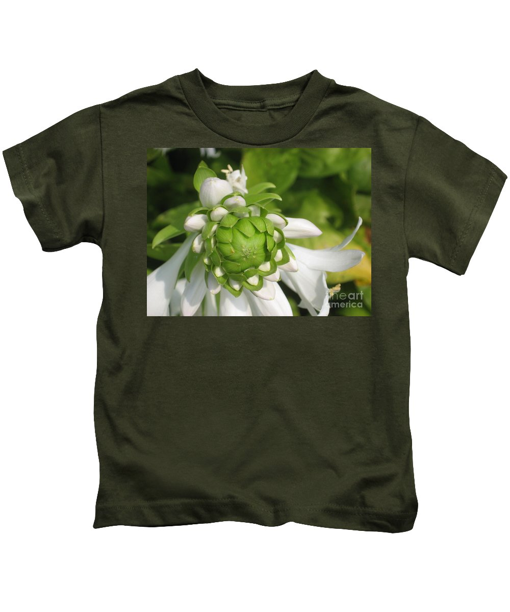 White Kids T-Shirt featuring the photograph Springtime Bud by Ray Konopaske