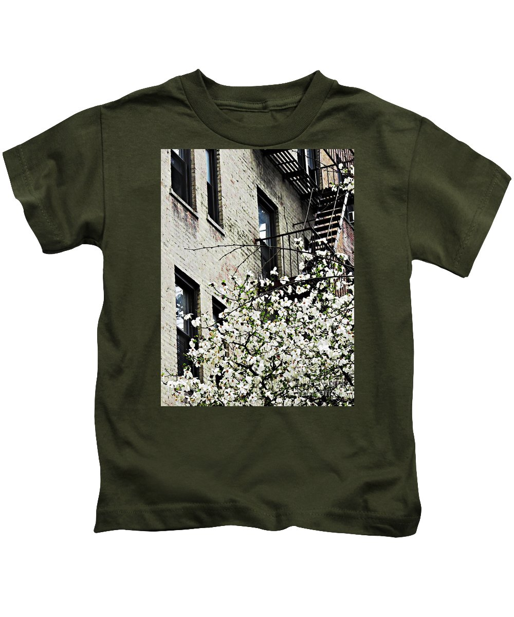 Springtime In Washington Heights Kids T-Shirt featuring the photograph Springtime In Washington Heights by Sarah Loft