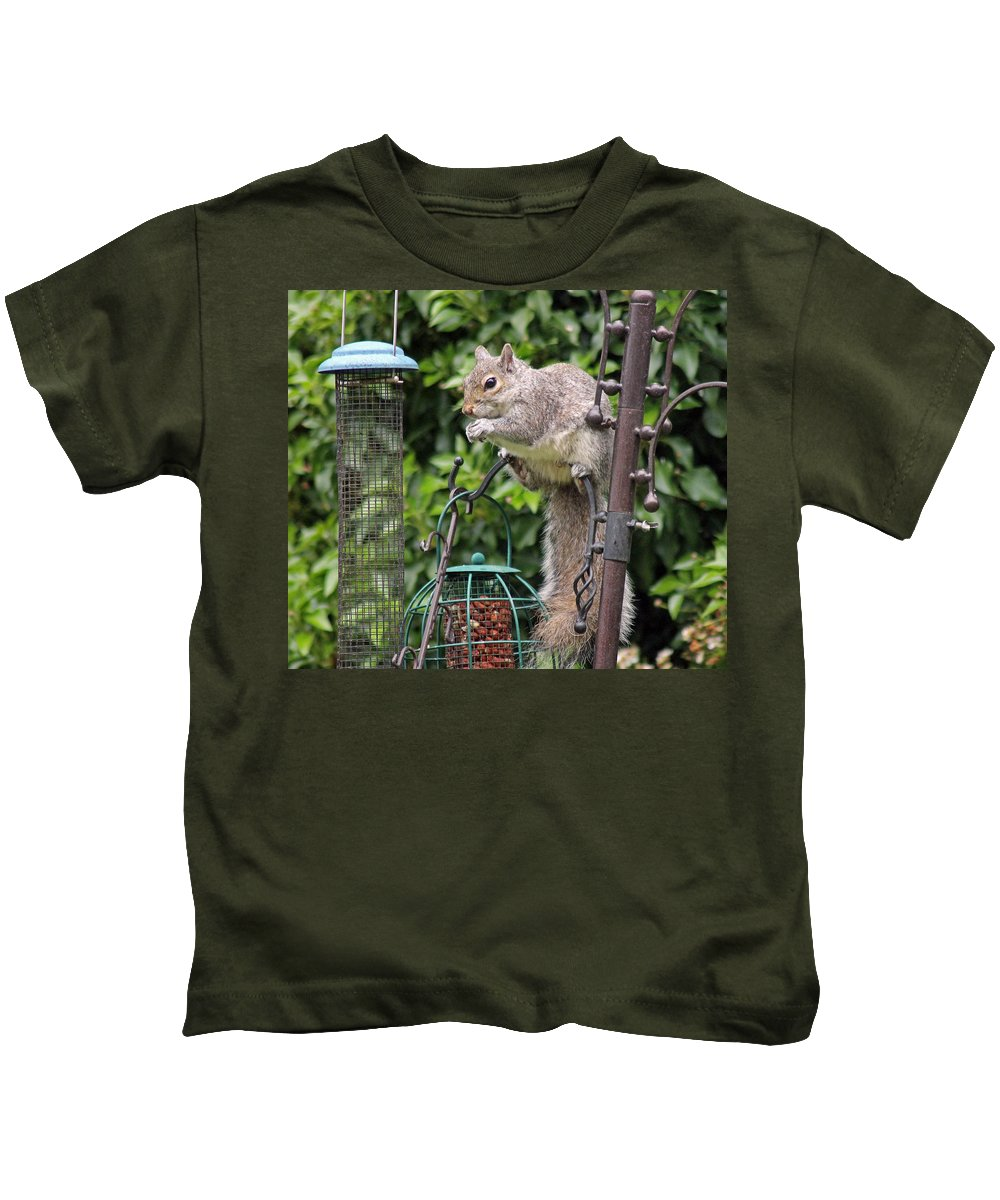 Grey Squirrel Kids T-Shirt featuring the photograph Squirrel Eating Nuts by Tony Murtagh