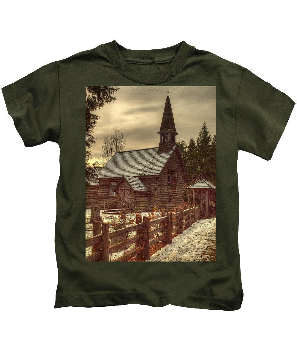 Church Kids T-Shirt featuring the photograph St Anne's Church In Winter by Randy Hall