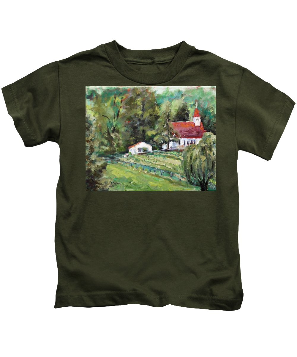 Church Kids T-Shirt featuring the painting St. Lukes Church And Jefferson Vineyards In Charlottesville Va by Donna Tuten