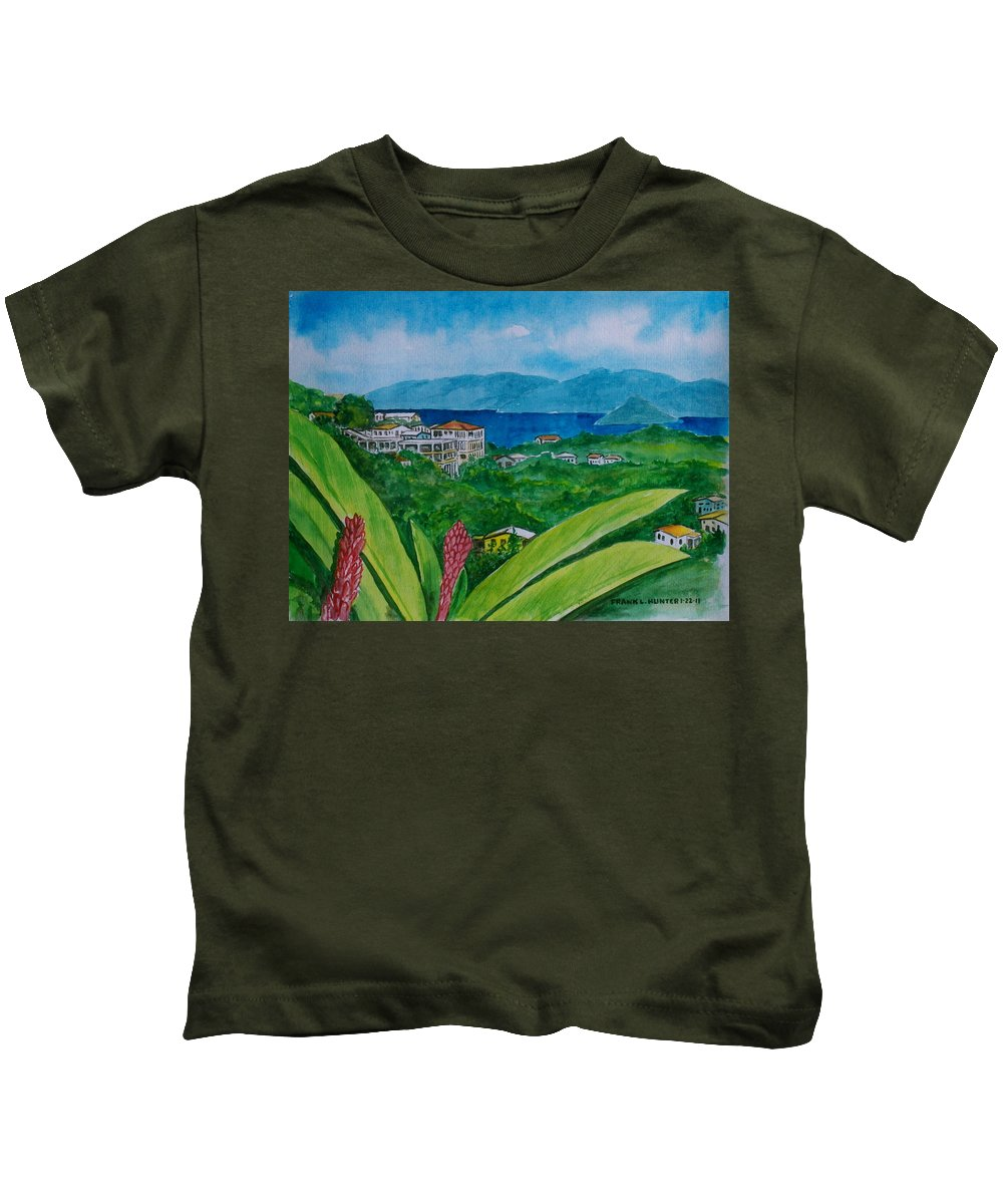 St Thomas Flower Plant Houses Hills Water Foreground Kids T-Shirt featuring the painting St. Thomas Virgin Islands by Frank Hunter