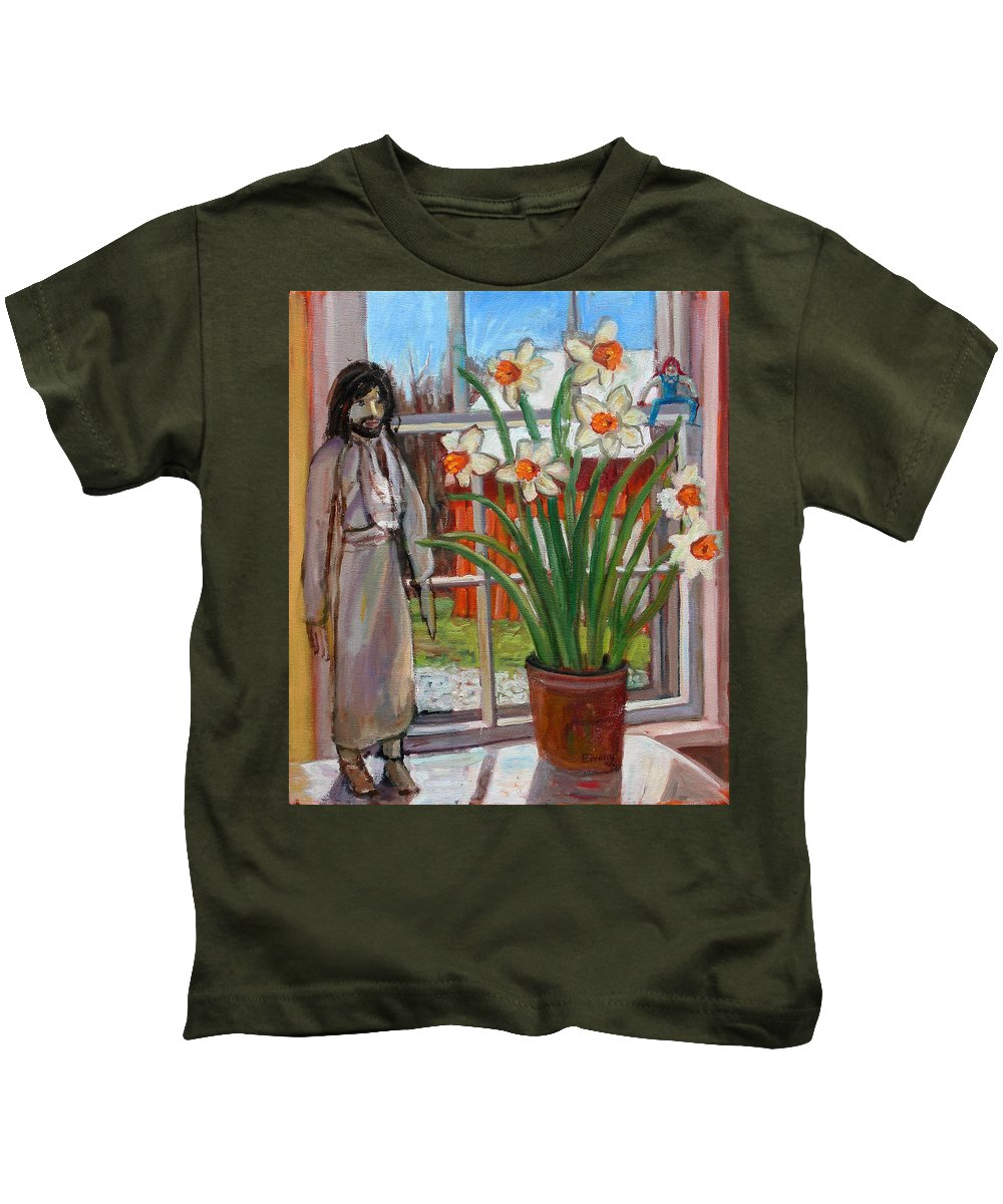 Primary Colors Kids T-Shirt featuring the painting St007 by Paul Emory
