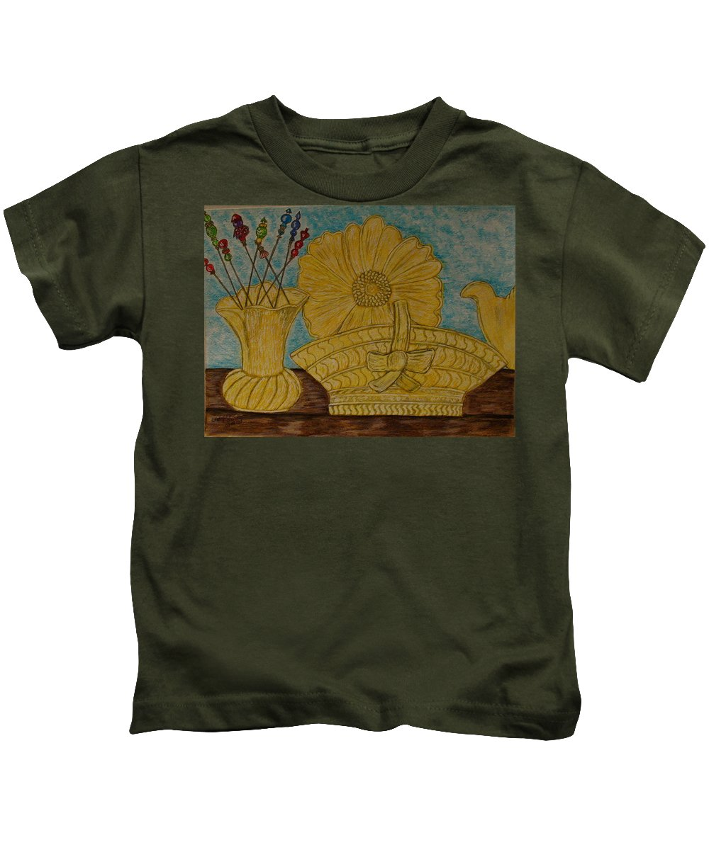Stangl Pottery Kids T-Shirt featuring the painting Stangl Pottery Satin Yellow Pattern And Vintage Hat Pins by Kathy Marrs Chandler
