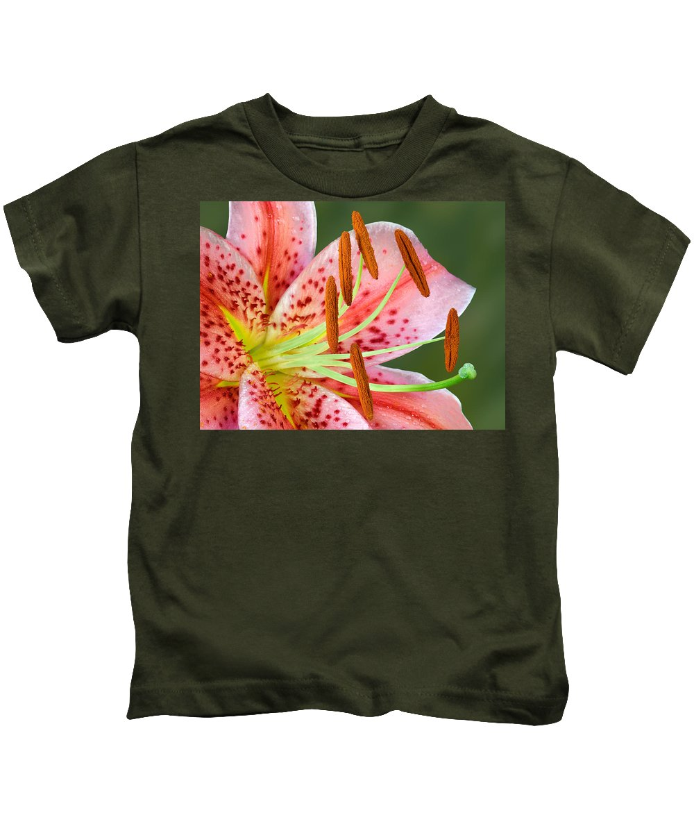 Stargazer Lily Kids T-Shirt featuring the photograph Stargazer Lily by Susan Candelario