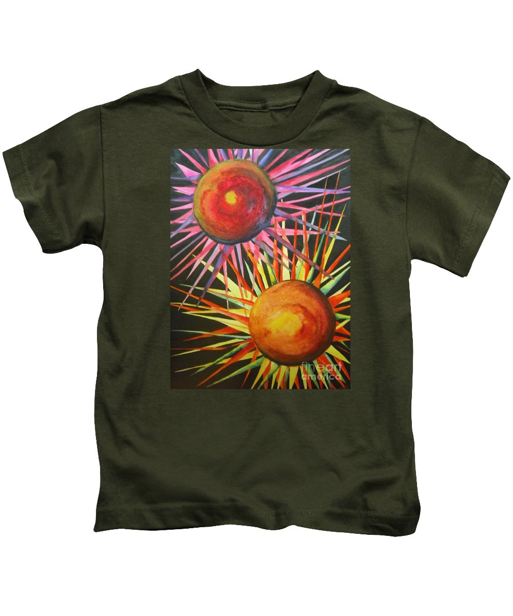 Fine Art Painting Kids T-Shirt featuring the painting Stars With Colors by Chrisann Ellis