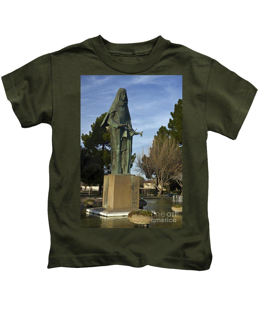 Travel Kids T-Shirt featuring the photograph Statue Of Saint Clare Santa Clara Calfiornia by Jason O Watson