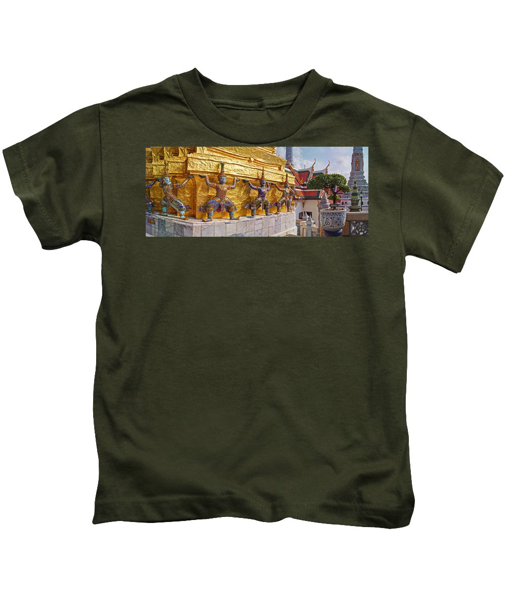 Photography Kids T-Shirt featuring the photograph Statues At A Temple, Wat Phra Kaeo by Panoramic Images