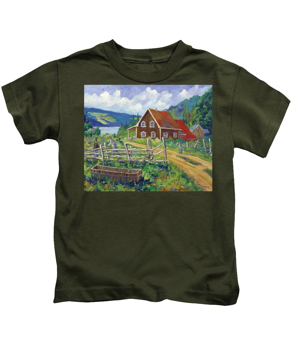 Art Kids T-Shirt featuring the painting Ste-rose Du Nord by Richard T Pranke