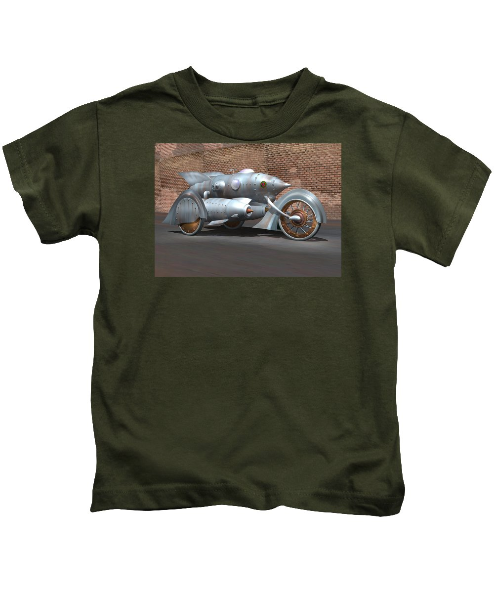Retro Kids T-Shirt featuring the digital art Steam Turbine Cycle by Stuart Swartz