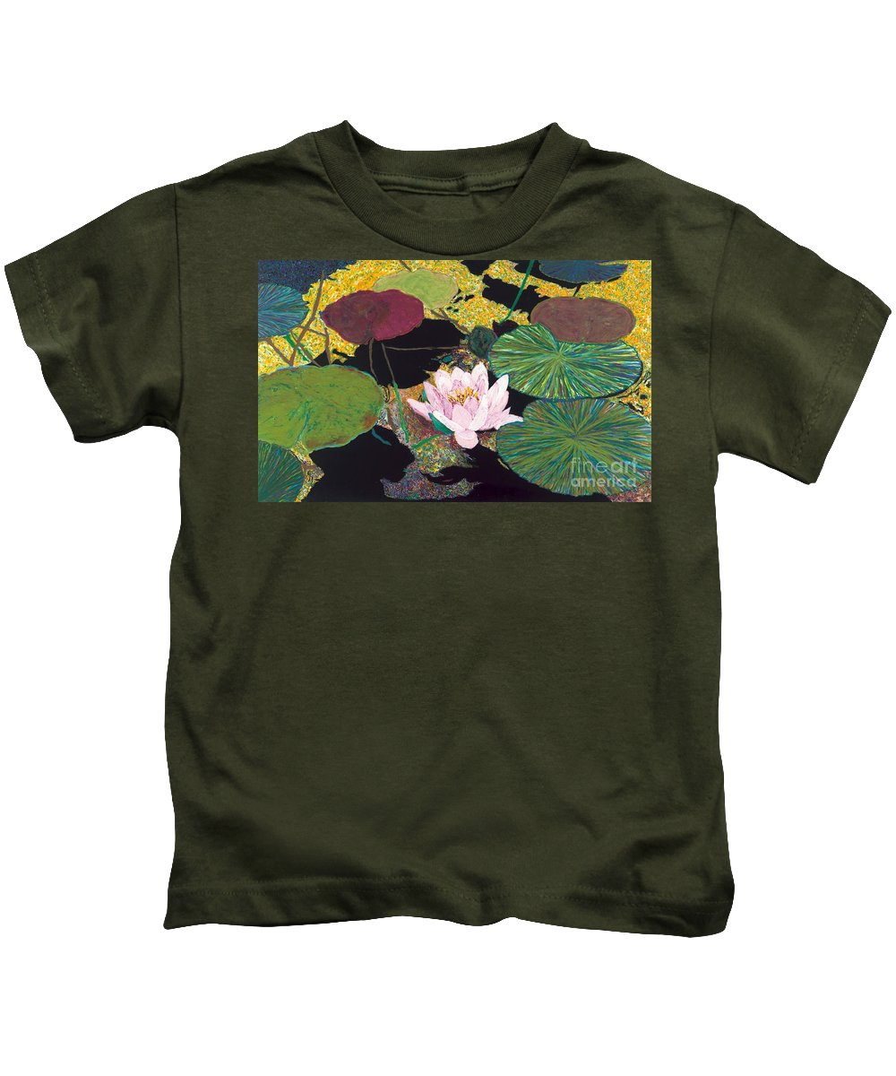 Landscape Kids T-Shirt featuring the painting Steamy Pond by Allan P Friedlander