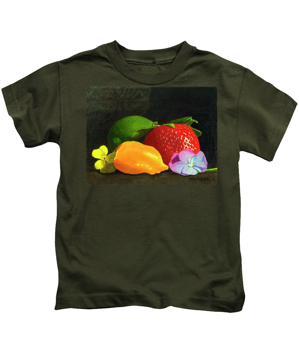 Still Life Kids T-Shirt featuring the painting Still Life No. I by Mike Robles
