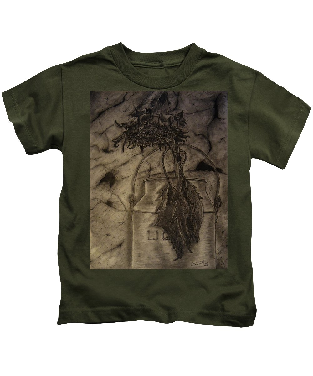 Still Life Kids T-Shirt featuring the drawing Still Life One Dried Sunflower In Metal Jug by Jose A Gonzalez Jr