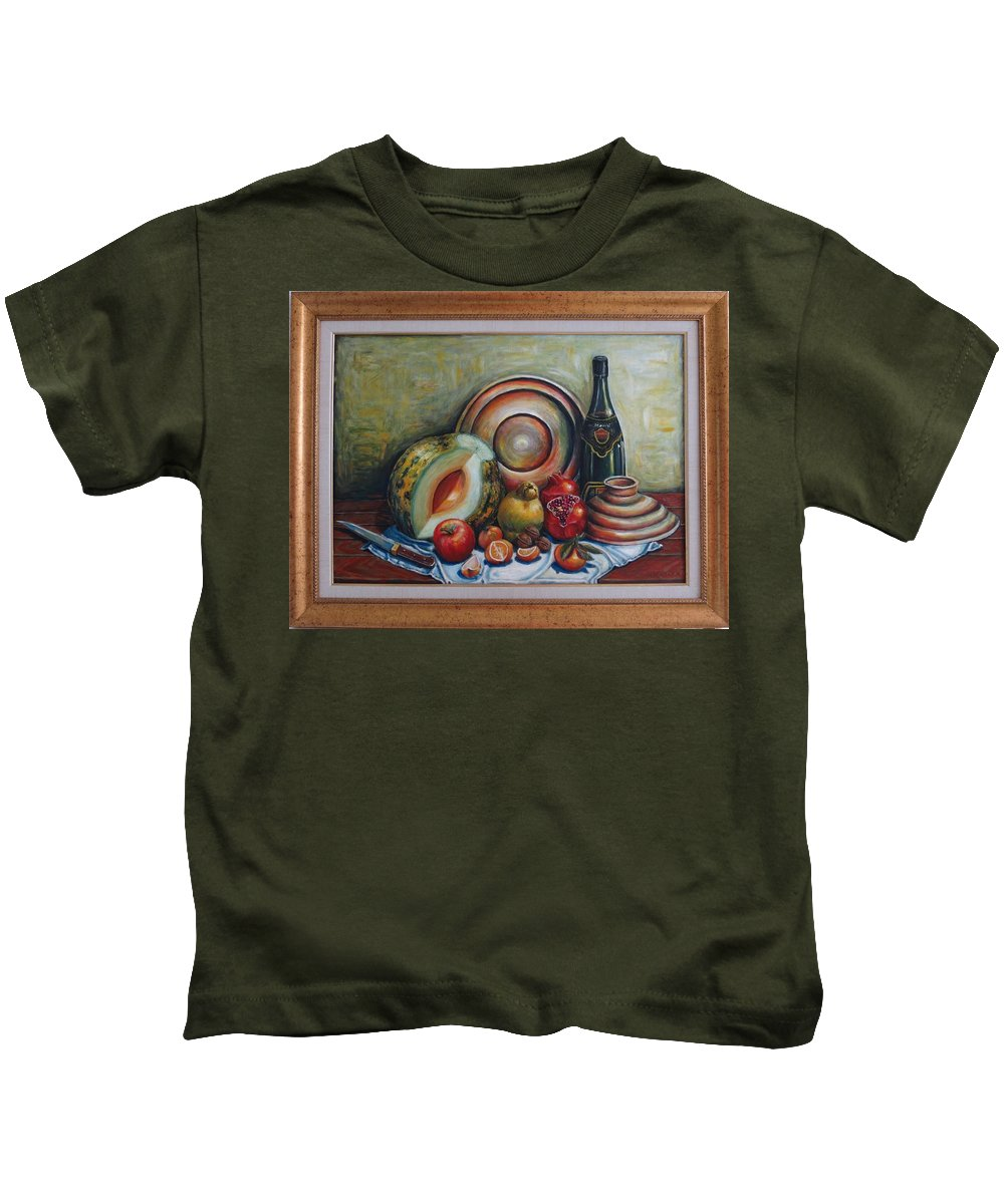 Still Life Kids T-Shirt featuring the painting Still Life With Water Melon by Kazim C