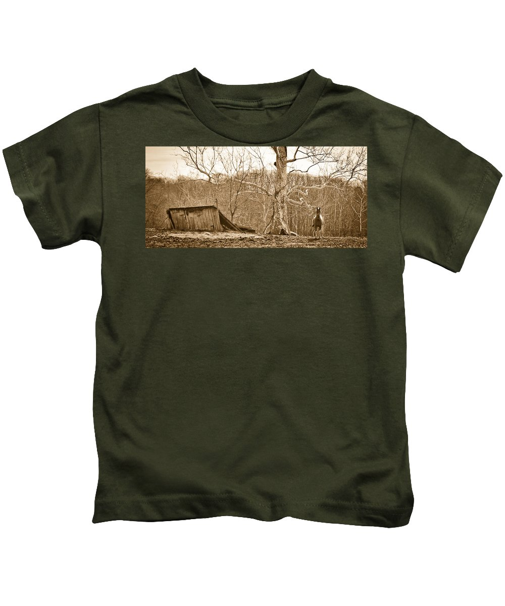 Barn Kids T-Shirt featuring the photograph Still Standing by Shirley Tinkham
