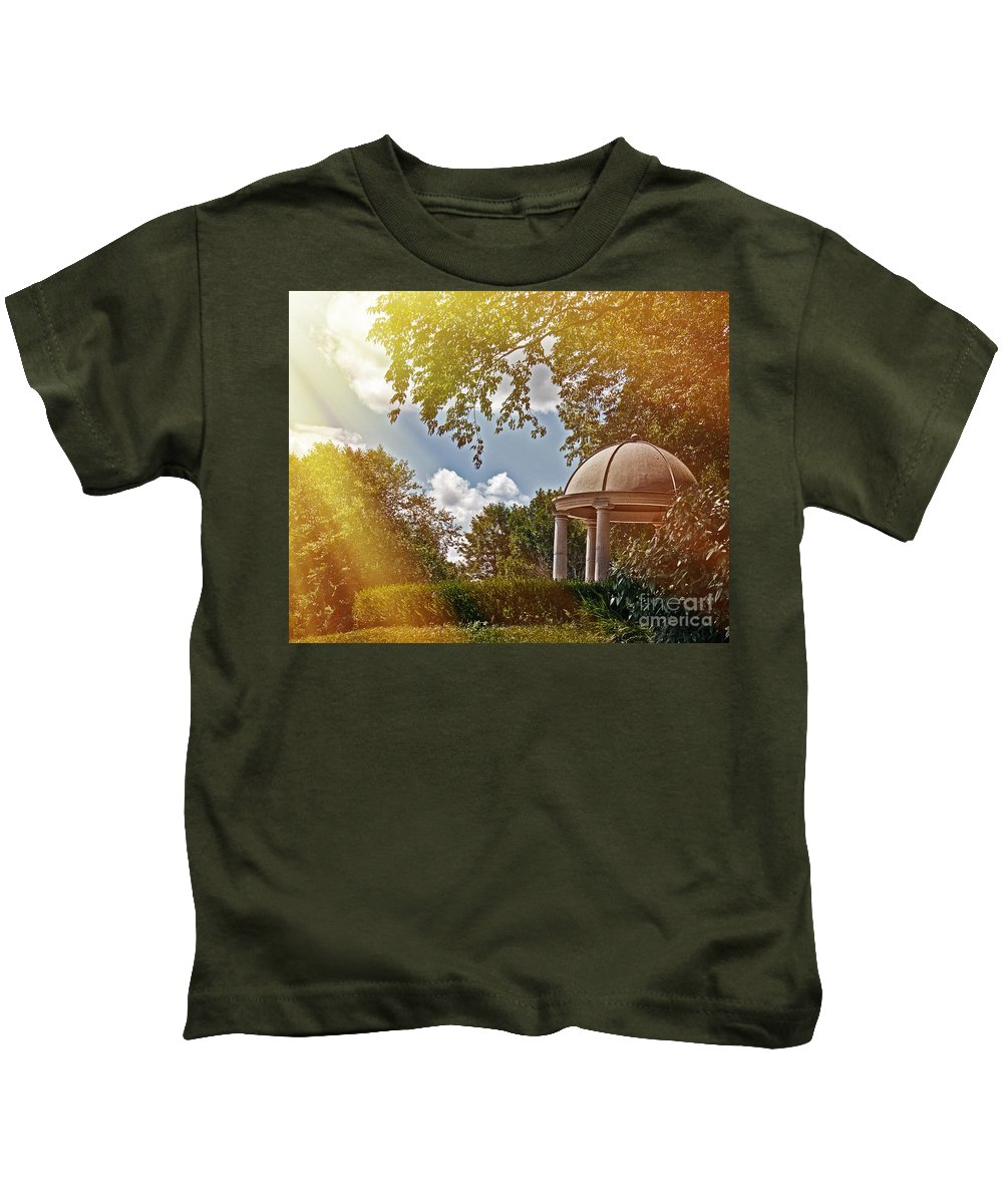 Peaceful Kids T-Shirt featuring the photograph Stone Gazebo by Tom Gari Gallery-Three-Photography