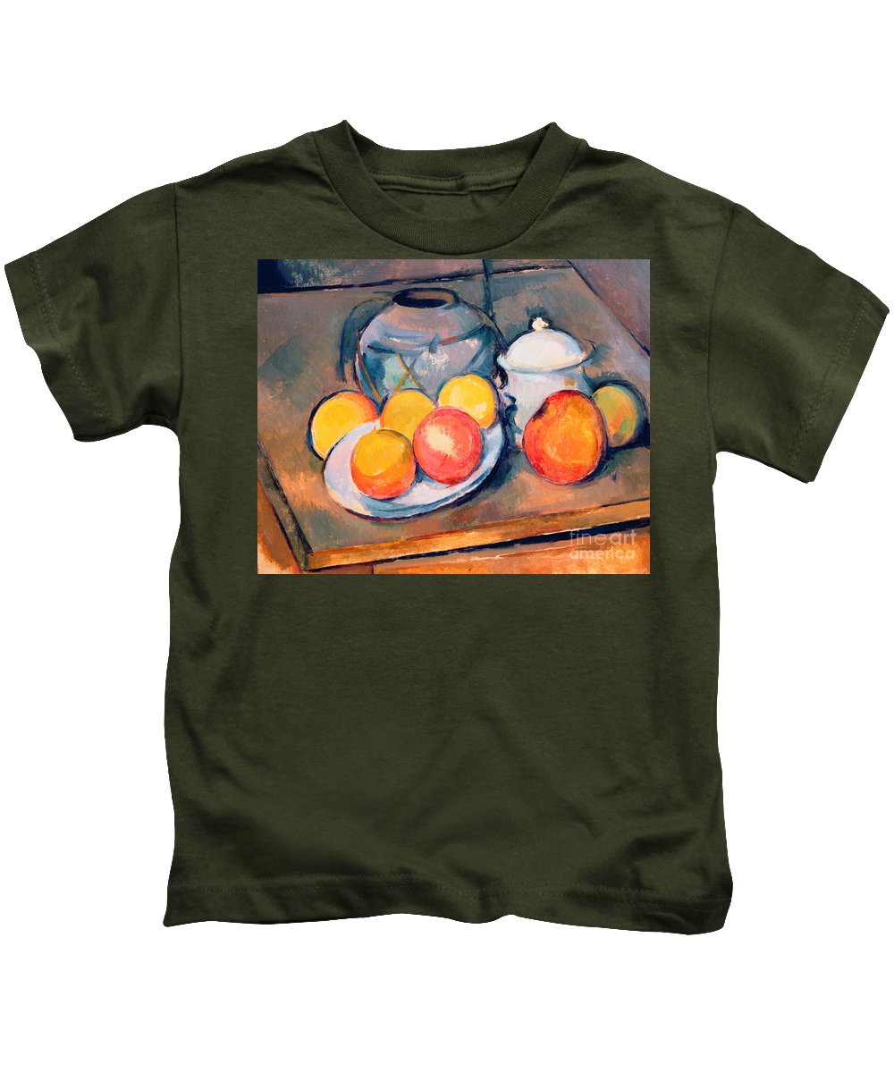 Still Life Kids T-Shirt featuring the painting Straw Covered Vase Sugar Bowl And Apples by Paul Cezanne
