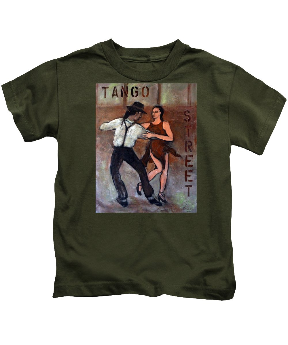 Tango Kids T-Shirt featuring the painting Tango Street by Valerie Vescovi