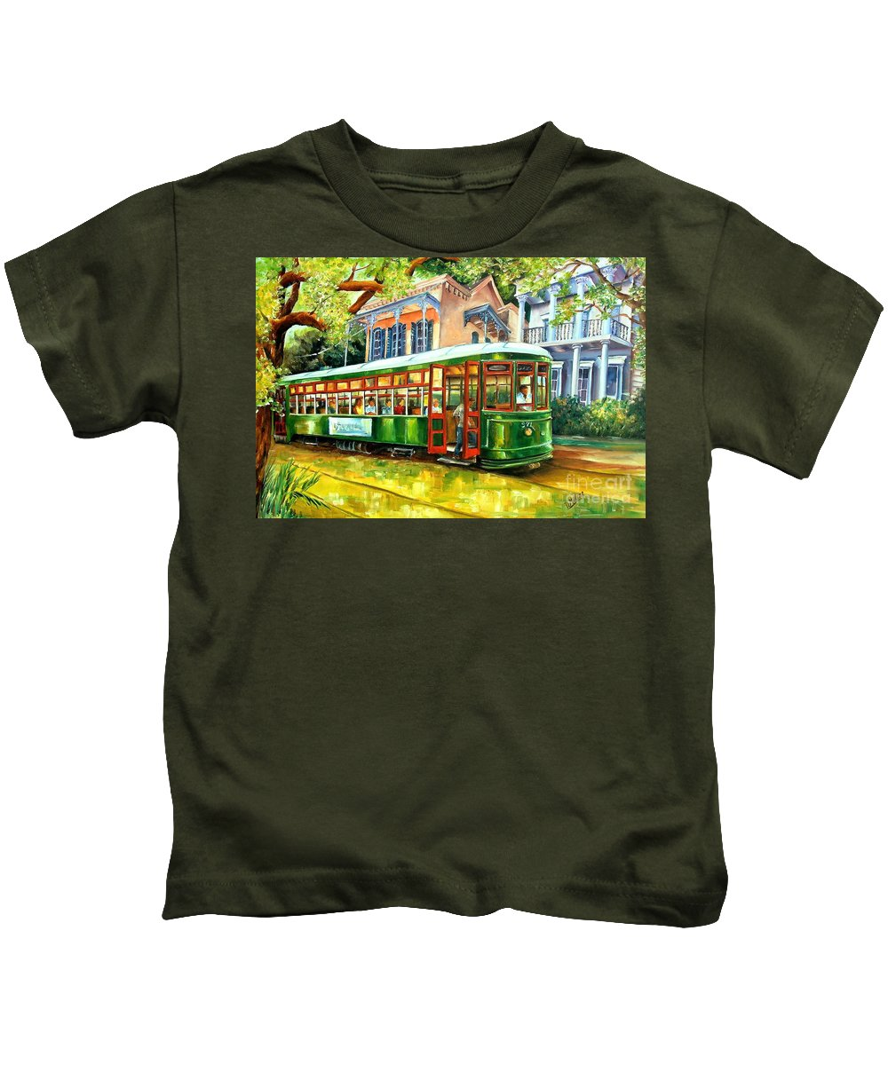 New Orleans Kids T-Shirt featuring the painting Streetcar On St.charles Avenue by Diane Millsap