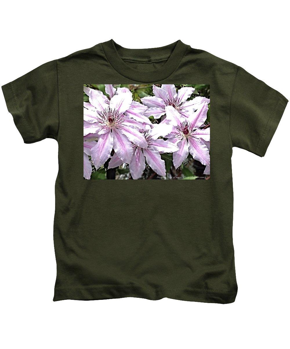 Flowers Trellis Kids T-Shirt featuring the photograph Striped Clematis by Georgina Mizzi