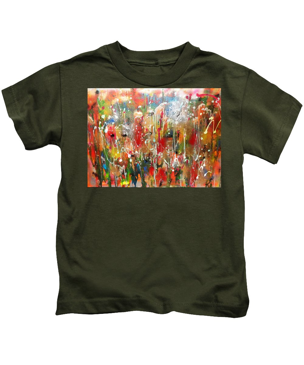 Contemporary Abstract Kids T-Shirt featuring the painting Strong And Courageous by Yael VanGruber